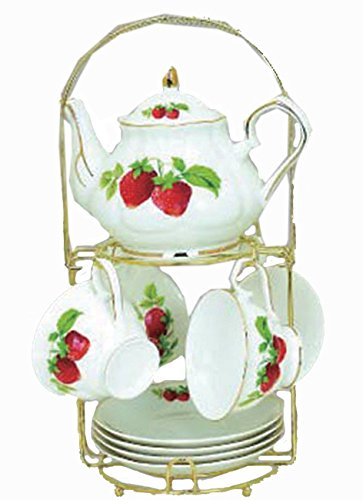 Green Pastures Wholesale Strawberry Porcelain Wide Shape Tea Set, 7-Inch by 5-Inch