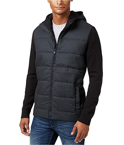 (Alfani Mens Ribbed Trim Hooded Basic Jacket Black L )