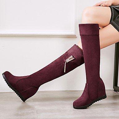 Heart&M Damen Schuhe Beflockung Herbst Winter Komfort Stiefel Flacher Absatz Runde Zehe Strass Für Schwarz Grün Wein black