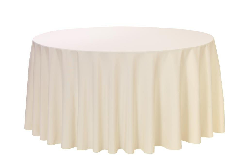12 Pack 132 Inch Round Polyester Linens for Hotel, Banquet, Party (Ivory)