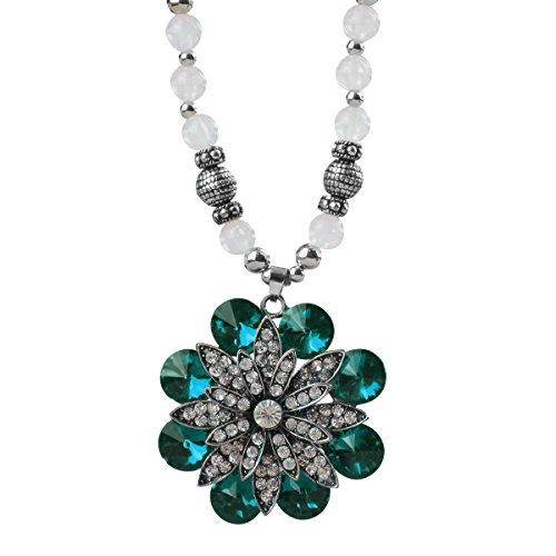 Flower And Bead Necklace (Merdia Long Sweater Necklace Created Cats Eye Bead Strand Flower Pendant Necklace for Women)