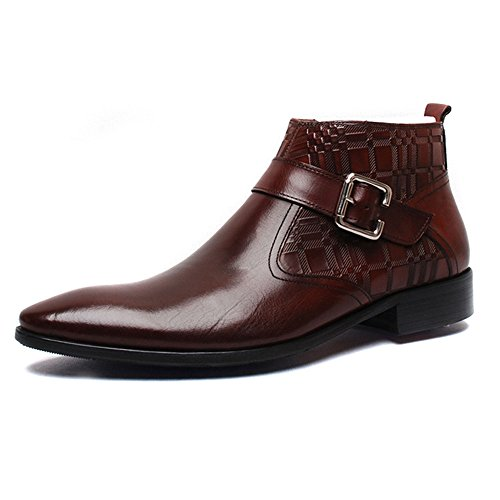 Pointed men's fashion formal leather boots ankle boots - 3
