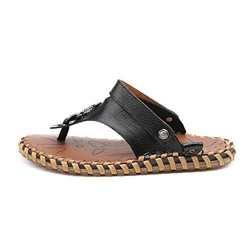 sin de Playa auténtica Planas Aire al Zapatos Libre para Negro Senderismo Sandalias Senderismo Negro Ajustables para de Verano Piel Espalda Sandalias 41 y Wenquanshoes Hombre Suaves 5n8wU6U1