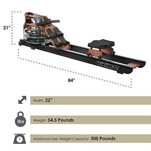 First Degree Fitness Viking II Black Reserve Indoor Rowing Machine, Black/Brown