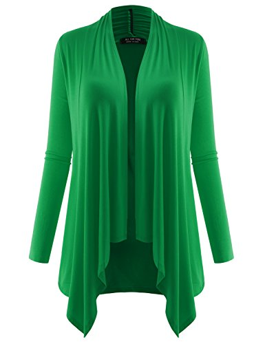 Ribbed Kelly Green (ALL FOR YOU Women's Long Sleeve Flowy Open Cardigan Kelly Green Large)