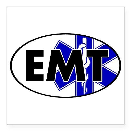 CafePress Oval_EMT_Wsol Square Bumper Sticker Car Decal, 3