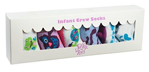 Silky Toes Non-Skid Newborn Baby Socks Gift Set (12-18M, Purple Animal Print (6 Pairs))