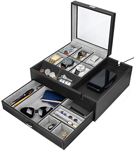 - HOUNDSBAY Commander Dresser Valet Watch Box Case & Mens Jewelry Box Organizer with Smartphone Charging Station (Black/Gray)