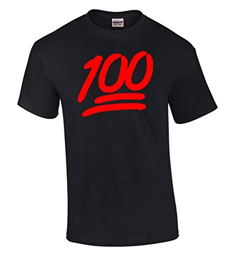 icustomworld 100 Emoji Red Logo T-shirt Funny Cool Gift Shirts S Black