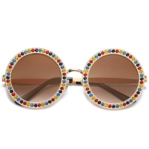 Costumes That Need Colored Contacts - SOJOS Round Oversized Rhinestone Sunglasses for
