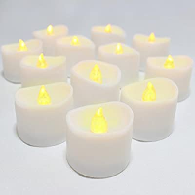 LED Lytes Flameless Candles, Set of 12 Battery Operated Tea Lights with 6 Hour Timer and Amber Yellow Flame