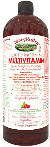 Morning Liquid Vitamins by MaryRuth (Raspberry) Vegan Multivitamin A B C D3 E Trace Minerals & Amino Acids for Energy, Hair, Skin & Nails for Men & Women | Paleo | Gluten Free | 0 Sugar | 0 Fat | 32oz ()