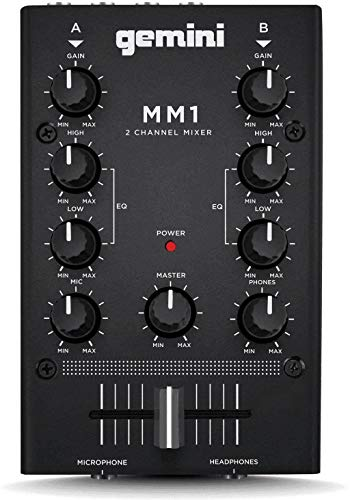 Gemini MM1 Professional Audio 2-Channel Stereo 2-Band Rotary Compact DJ Mixer with Cross-Fader and Individual Gain Control,20.00 x 20.00 x 20.00,Black