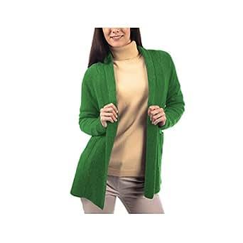 Parisbonbon Women's 100% Cashmere Shawl Collar Cardigan Color Apple Green Size 5XS