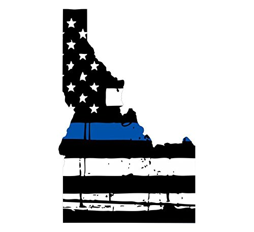 Idaho tattered thin blue line us flag honoring our men & women of law enforcement car symbol sticker decal die cut vinyl window computer - Made and Shipped in USA