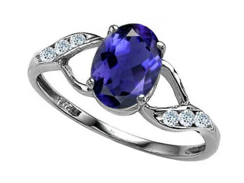 Tommaso Design Oval 8x6mm Genuine Iolite Ring 14 kt White Gold Size 7 ()