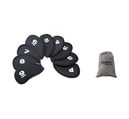 ご注意ポーズ見出しPosma CC020 ゴルフクラブヘッドカバー 9枚入り ファスナー付き Posmaフランネルバッグ