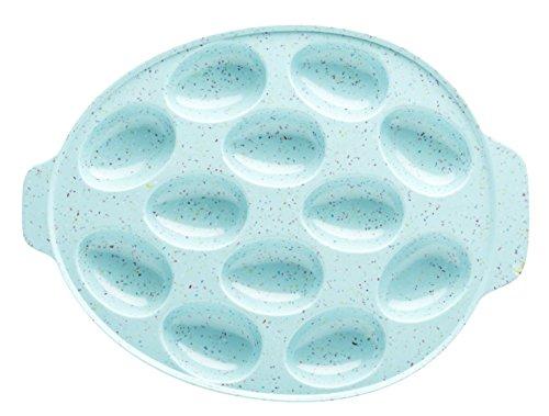 """Zak Designs Sprinkles Oval Egg Tray, 11"""", BPA-Free Melamine, Aqua"""