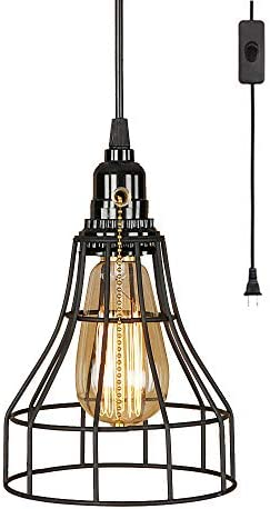 EFINEHOME Farmhouse Plug in Light Fixture with On Off Switch Wire Caged Hanging Pendant Lamp with Pull Chain Socket Retro Rustic Home Decor 1 Pack