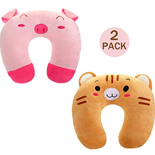 2 Pieces Kid's Travel Neck Pillow Rest, U-Shape Soft Neck Head Chin Support Pillow for Airplanes, Cars, Train, Road Trips, Sleeping, Gifts (Cat and Pig)