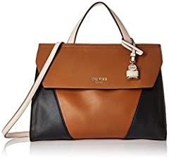 Shawna top handle flap in leather-like pu with exterior back panel slip pocket and detachable crossbody strap