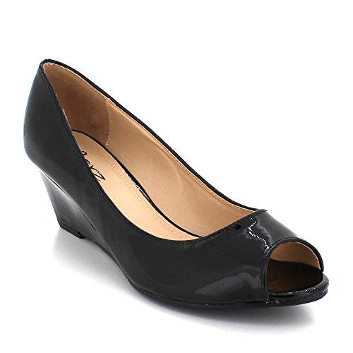 Sandals Black On Casual Wedge Womens Slip LONDON AARZ Party Ladies Evening Shoes Size Shiny Peeptoe Comfort Heel 7OpwanqxF