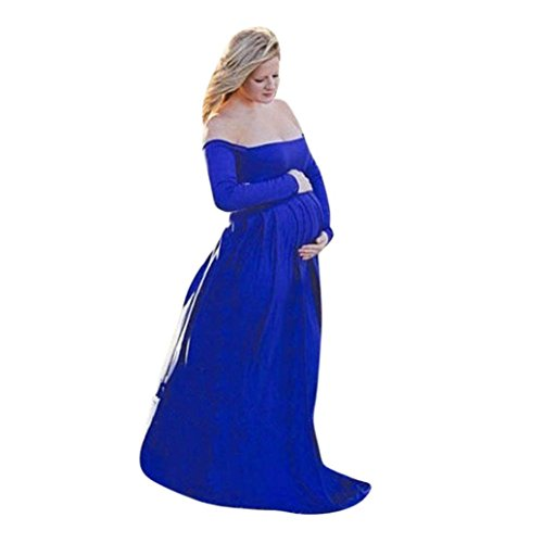 Auwer Maternity Off Shoulder Elegant Fitted Maternity Gown Long Sleeve Slim Fit Maxi Photography Dress  S  Blue