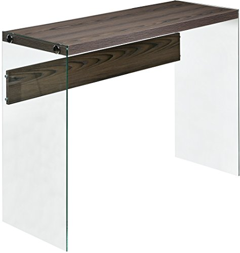 OneSpace 50-JN19CSWN Escher Skye Wood/Clear Glass Console Sofa Table, Walnut