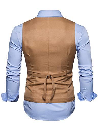 Ajustable xxl Costume Slim Manche Elégant Marron S Multicolore Business Sans Homme Veste Boutonnage Casual Gilet Fit Mariage Double WIwqpSaFa