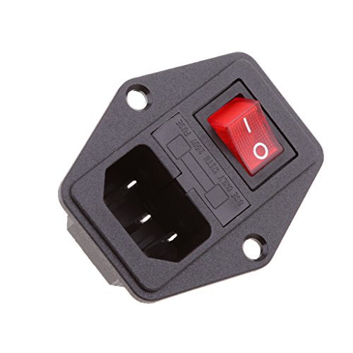 Dovewill 10A 120V Red Light Rocker Switch 3 Pin IEC320 Inlet Module Plug Fuse