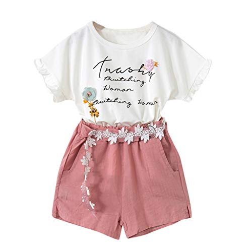 Qpika 2PCS Summer Toddler Baby Girls Short Sleeve Letter Print Tops+Floral Shorts Outfits for $<!--$11.99-->