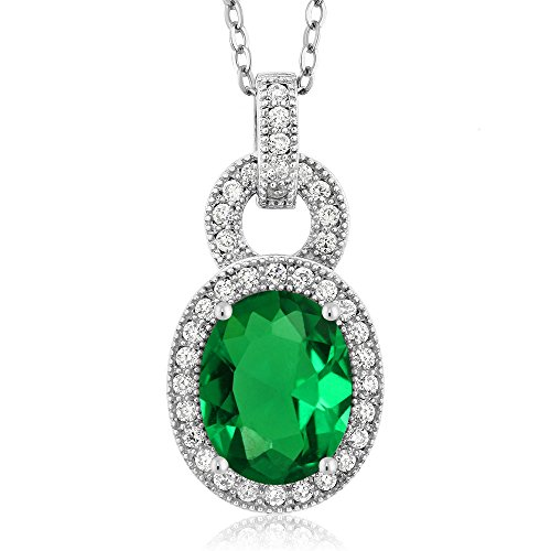 Gem Stone King 2.64 Ct Oval Simulated Green Emerald 925 Sterling Silver Pendant Necklace with 18 Inch Silver - Green Genuine Oval Emerald Pendant