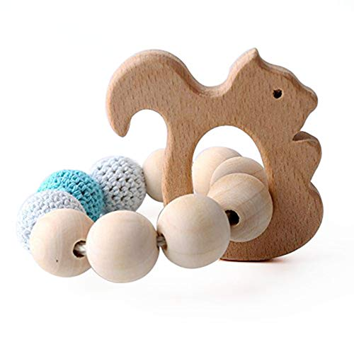 Biter teether Baby Wooden Rattle Teething Bracelet Crochet Beads Wood Squirrel Teether Bracelets Sensory Tools