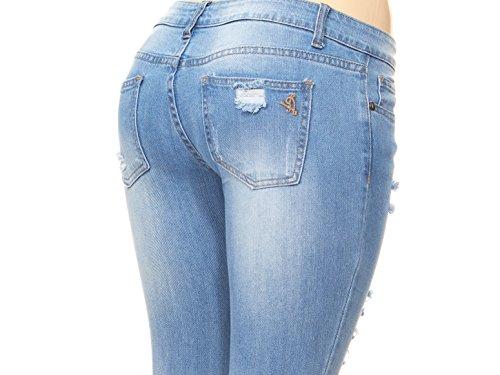 V.I.P. JEANS Ripped and Distressed Frayed Hem Skinny Stretch Jeans Plus Size 16 / Light Blue by V.I.P. JEANS (Image #6)