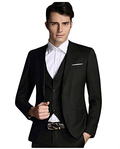 Men's 3-Piece Suit 2 Buttons Slim Fit Solid Color Jacket Smart Wedding Formal Suit
