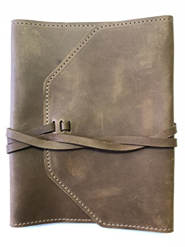 - Leather Bible Cover - Adjustable with Wrap (XL, Rustic Brown)
