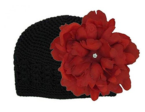 (Black Crochet Hat with Red Large Peony, Size: 12-18m)