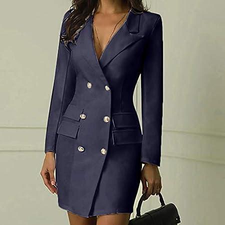 Khaki,XXL-UK16 Holywin Women Double Breasted Button Front Military Style Long Dress Work Slim Dress