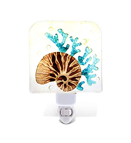 CoTa Global Night Light, Plug in Energy Efficient Decorative Socket Lamp Manual On & Off Portable Light for Stairway, Bedroom & Bathroom Marine Life Themed Accessory Home & Kitchen Decor - Conch Shell