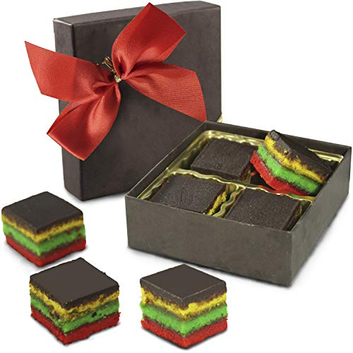 Fresh Baked Rainbow Cookies | Gimmee Jimmy's Cookies- 4 Pieces of Authentic Rainbow Cookies in a Beautiful Gift Box With a Bow