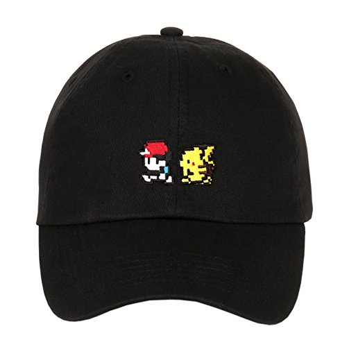 Pixelated Ash and Pikachu Character Embroidered Logo Strapback Baseball Cap (Black)]()