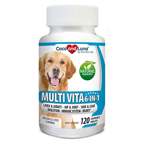 Multivitamin for Dogs, Milk Thistle for Liver and Kidney, Glucosamine, MSM, Chondroitin, Omega 3, Biotin, Probiotics, Enzymes, Coq 10, Vitamins A, C and E. 120 Natural Chew-able Tablets.