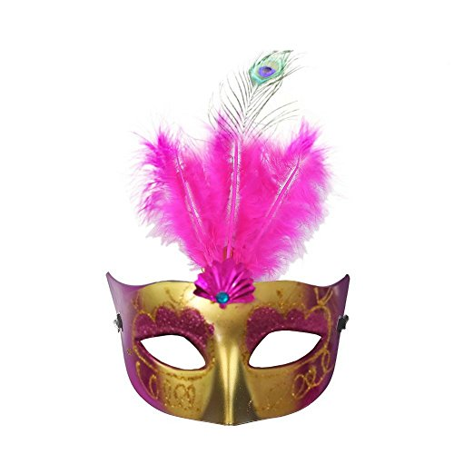 Deluxe Feathered Party Mask by Hello Halloween | Classic Style Carnival Mask for Halloween, Mardi Gras, Carnival, Costume Events, Masquerade Ball Mask | Gold Mask, Glitter & Feather Design