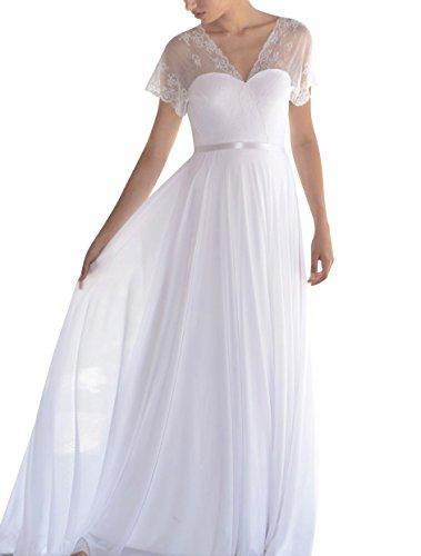 661e0574ab Lovelybride Romantic Backless Boho Beach Chiffon Wedding Dresses with Lace  Top