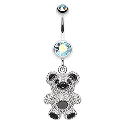 Adorable Teddy Bear 316L Surgical Steel Freedom Fashion Belly Button Ring (Sold Individually) (14GA, 3/8