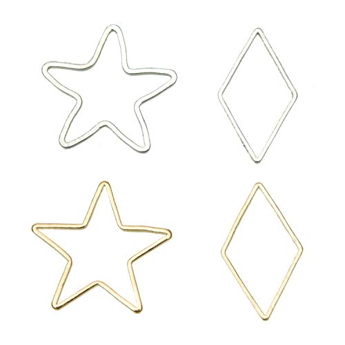 Pomeat 100Pcs Alloy Stars and Diamond Pendant Connector DIY Necklace Bracelet Charms for Jewelry Making and Crafting