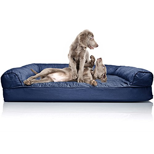 Furhaven Dog Bed | Orthopedic Quilted Sofa-Style Living Room Couch Pet Bed for Dogs & Cats, Navy, Jumbo