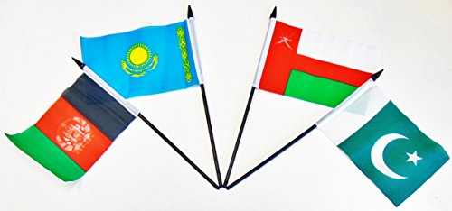 SOUTH CENTRAL ASIA WORLD FLAG SET--20 Polyester 4''x6'' Flags, One Flag for Each Country in South Central Asia, 4x6 Miniature Desk & Table Flags, Small Mini Stick Flags by World Flags Direct (Image #4)