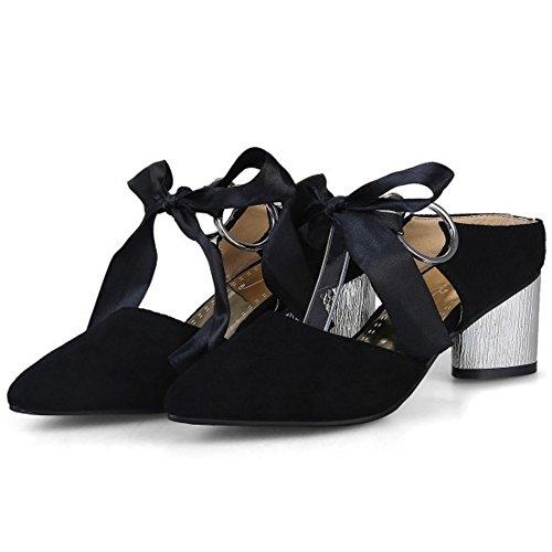 COOLCEPT Mujer Moda Tacon Medio Ancho Mary Janes Sandalias Mulas Cerrado Talon Abierto Zapatos Negro