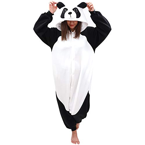 Animal Onesie Panda Pajamas- Plush One Piece Costume (X-Large, Black/White)]()